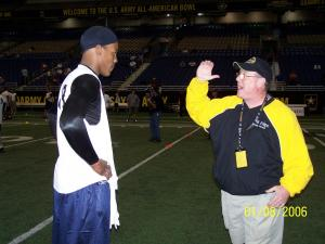 Coach Skip with 2010 Heisman Trophy Winner Cameron Newton at 2006 Army Combine